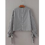 cheap Checked Back Button Crop Blouse