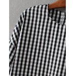 Checked Back Button Crop Blouse deal