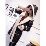 cheap Hooded Suede Coat with Faux Shearling Trim