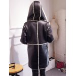 Hooded Suede Coat with Faux Shearling Trim for sale