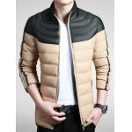 Stand Collar Zip-Up Colour Spliced Padded Jacket