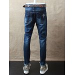 Embroidery Zip Fly Distressed Jeans deal