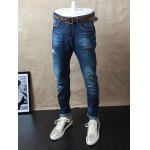 cheap Embroidery Zip Fly Distressed Jeans