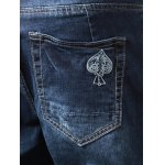 Embroidery Zip Fly Distressed Jeans photo