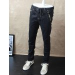 cheap Slim-Fit Zipper Pocket Drawstring Waist Jeans