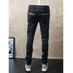 Slim-Fit Zipper Pocket Drawstring Waist Jeans for sale