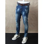 cheap Skinny Zipper Fly Distressed Jeans