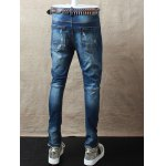 Skinny Zipper Fly Distressed Jeans for sale