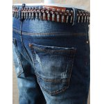 Skinny Zipper Fly Distressed Jeans photo
