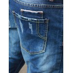 Skinny Zipper Embellished Distressed Jeans photo