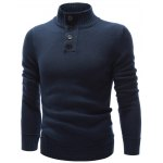 cheap High Neck Button Embellished Pullover Sweater