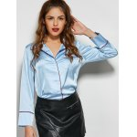 One Pocket Patchwork Loose Fit Satin Shirt deal