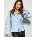 cheap One Pocket Patchwork Loose Fit Satin Shirt