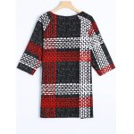 cheap Dashed Line Shift Plaid Print T-Shirt