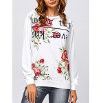 Active Letter and Rose Print Sweatshirt