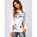 cheap Active Letter and Rose Print Sweatshirt