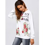 Active Letter and Rose Print Sweatshirt deal