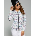 cheap Abstract Floral Print Zippered Jacket