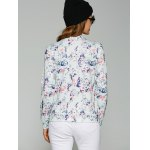 Abstract Floral Print Zippered Jacket deal