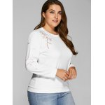 cheap Plus Size Flower Embroidered Sweatshirt