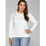 Plus Size Flower Embroidered Sweatshirt