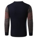 Color Block Splicing Long Sleeve Crew Neck Sweater deal