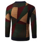 Geometric Print Color Block Knitted Sweater deal