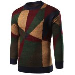 cheap Geometric Print Color Block Knitted Sweater