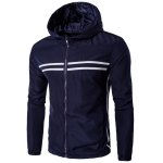 Hooded Striped Design Zip-Up Plus Size Jacket