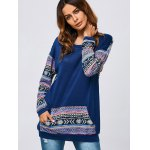 cheap Kangaroo Pocket Tribal Print Sweatshirt