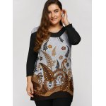 cheap Plus Size Tunic Dress With Paisley Print