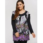 cheap Plus Size Dress With Flowers Waterfall Print