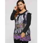Plus Size Dress With Flowers Waterfall Print deal