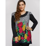 Plus Size Dress With Flower Leopard Print deal