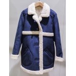 Sueded Splicing Turn-Down Collar Coat deal