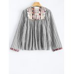 Round Neck Striped Embroidered Jacket deal