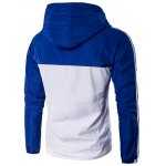 cheap Hooded Color Block Splicing Stripe Zip-Up Plus Size Jacket