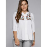 Plus Size Button Fly Floral Embroidered Top deal