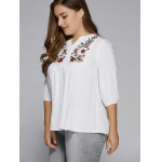 Plus Size Button Fly Floral Embroidered Top for sale