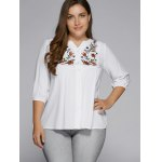 cheap Plus Size Button Fly Floral Embroidered Top