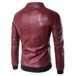 cheap Stand Collar Rib Splicing Zip-Up Plus Size PU-Leather Jacket