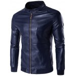 Stand Collar Rib Splicing Zip-Up Plus Size PU-Leather Jacket 11027