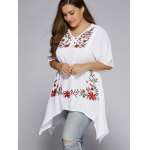 cheap Plus Size Asymmetric Hem Floral Embroidered Top
