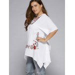 Plus Size Asymmetric Hem Floral Embroidered Top deal