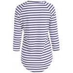 cheap Striped Raglan Sleeve Slimming T-Shirt
