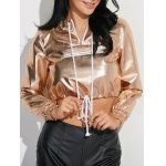 Metallic Color Cropped Pullover Hoodie
