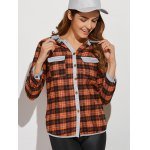 Hooded Plaid Shirt with Pocket for sale