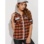 cheap Hooded Plaid Shirt with Pocket