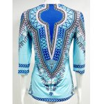cheap Slit African Printed Blouse