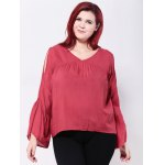 cheap Bell Sleeves Back Cut Out Blouse